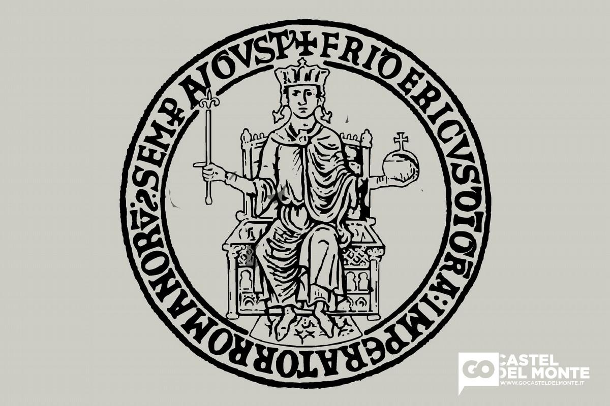 Sigillo aureo di Federico II: +FRIDERIC(US) D(E)I GRA(TIE) ROMANOR(UM) IMP(ERA)TOR SE(M)P(ER) AUG(USTUS)